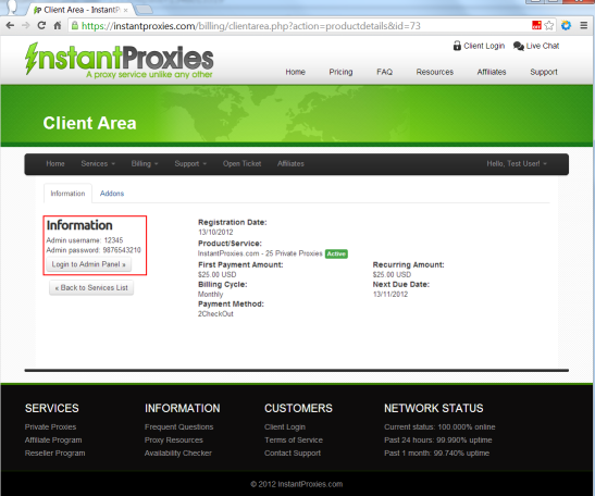 InstantProxies client area panel account information name and password
