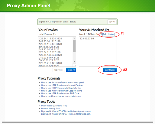 proxy admin panel authorized IPs shown