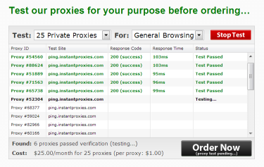 test 25 private proxies panel for general browsing