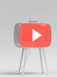 YouTube icon inside a TV
